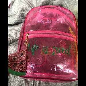 PINK OR YELLOW NEON CLEAR BACKPACK -see pics